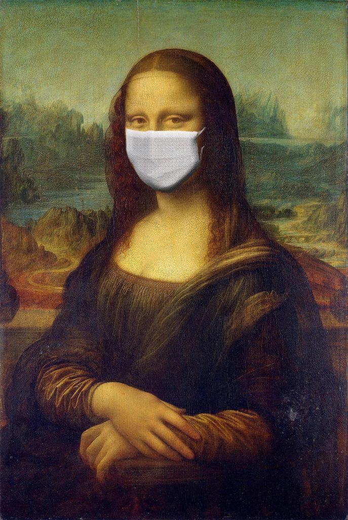 Bild von Mona Lisa mit Mund Nasen schutz, AFC Fitness