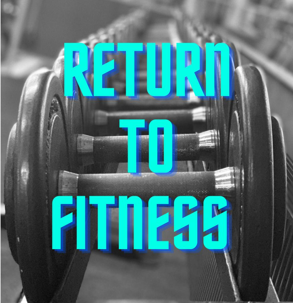 Hantelreihe mit blauer Schrift Return to fitness